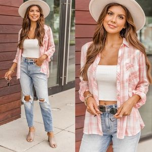 Pink Lily NEW A Step Away Coral Plaid Blouse